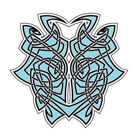 gothic style: Elegant difficult curled ornamental gothic tattoo. Celtic style. Maori. Weaving. Colored image.