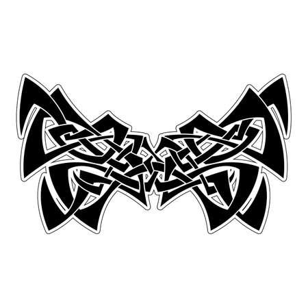 cult: Elegant difficult curled ornamental gothic tattoo. Celtic style. Maori. Weaving. Monochrome image.
