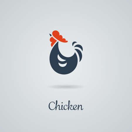 bird wing: Rooster, cock, chicken vector illustration. Logo design. Emblem, symbol.