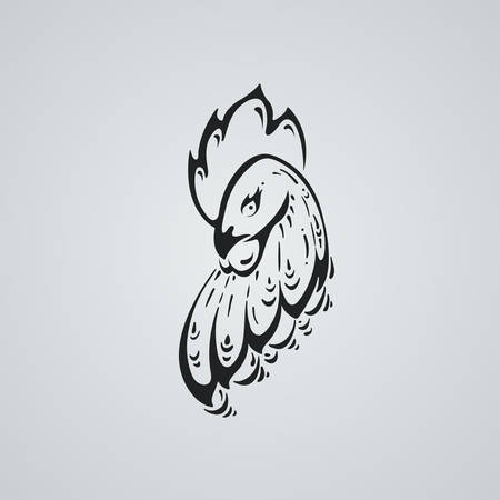 Rooster tatto ilustration. Stylized head of a cock. Vector art.