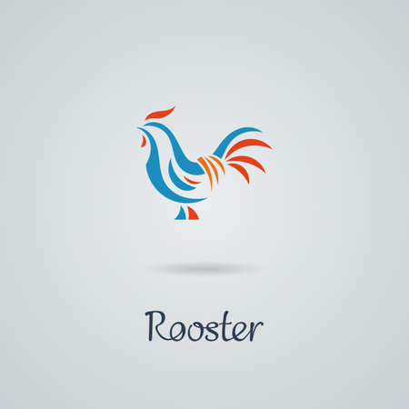 cockerel: Rooster, cock, chicken vector illustration. Logo design. Emblem, symbol.