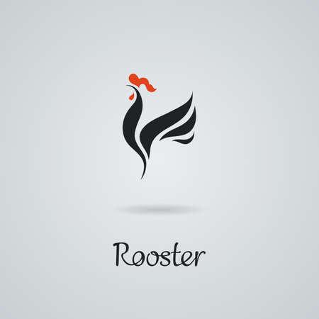 Haan, kip vector illustratie. Logo ontwerp. Embleem, symbool.