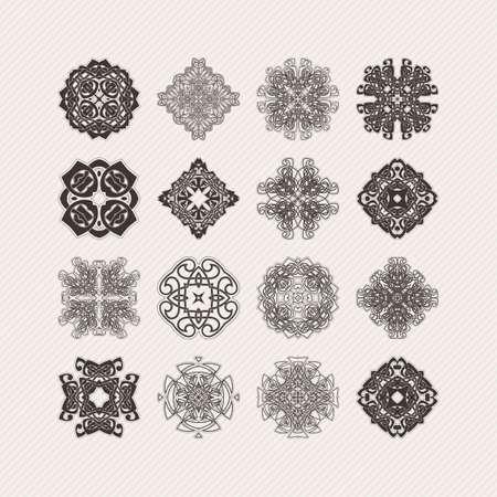 paganism: Set of ornate vector mandala symbols. Gothic lace tattoo. Celtic weave with sharp corners. The circular pattern. Illustration
