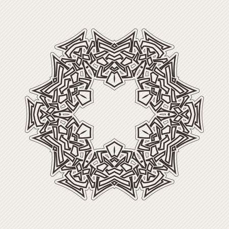 Vector mandala. Gothic lace tattoo. Celtic weave with sharp corners. The circular pattern.