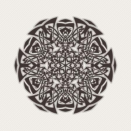 Vector mandala. Tatuaje de encaje gótico. Armadura céltica con las esquinas afiladas. El patrón circular. Ilustración de vector
