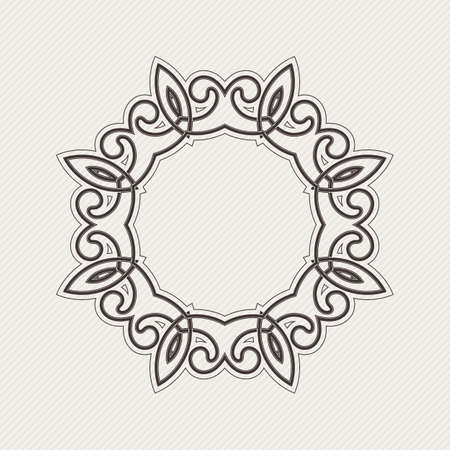 Vector ornate border. Gothic lace tattoo. Celtic weave with sharp corners. The circular pattern.