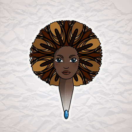 american vintage: Portrait of a woman with luxuriant hair in the style of an African. Vector. The patterns in the hair. Illustration