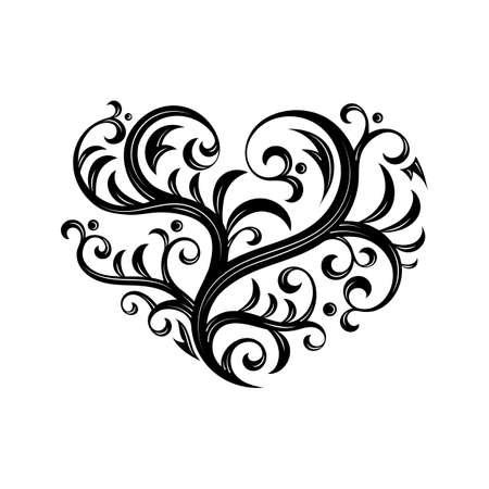 Vektor-Illustration mit Zweig Herz. Tattoo-Stil. Für Valentinstag. Reizende aufwändige Design.
