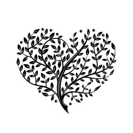 Vector illustratie met tak hart. Tattoo stijl. Voor Valentijnsdag. Mooie overladen ontwerp.