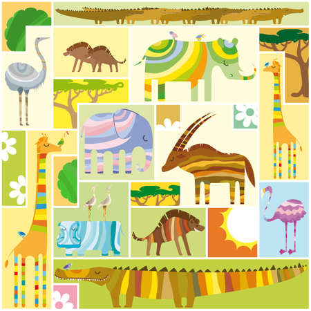 tetris: African Animals Tetris Collage with Random Colors Block