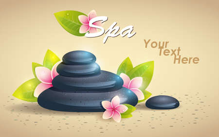 revitalize: Spa Background of Black Pebble and Small Flowers