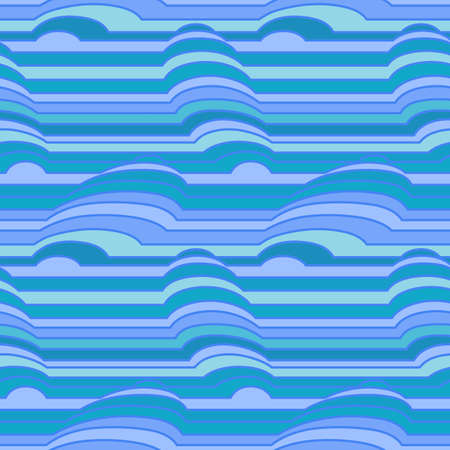 volumetric: Vector seamless pattern of colorful stripes with simulated three-dimensional object Illustration