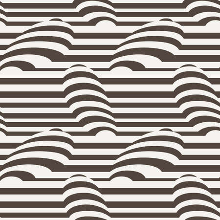 convex: Vector seamless pattern of monohrome stripes with simulated 3d object