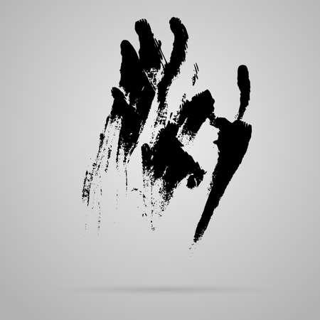 smeared mascara: Vector black smeared hand imprint of mascara
