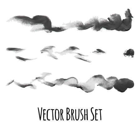traced: Set of vector brushes and traced elements of gouache