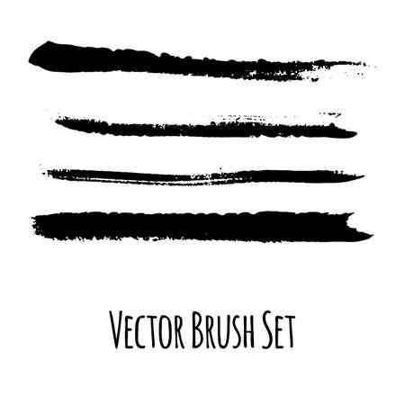 pictured: Set of four vector grunge contrasting brushes Illustration
