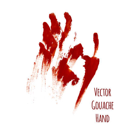 greased: Vector red greased hand imprint of gouache