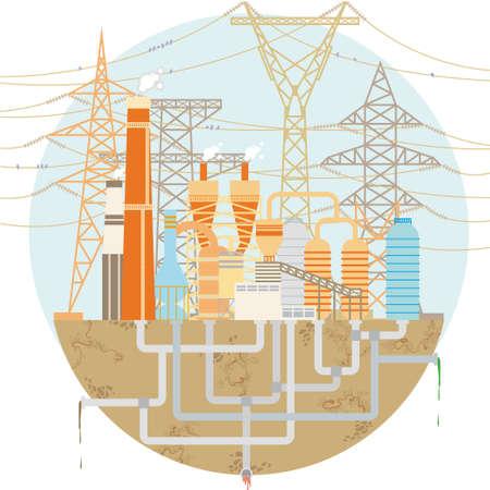 Schematische Fabrik mit Hochspannungs-Stromleitungen und Türme Standard-Bild - 53197358