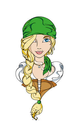 filibuster: Funny vector girl pirate in the green bandana