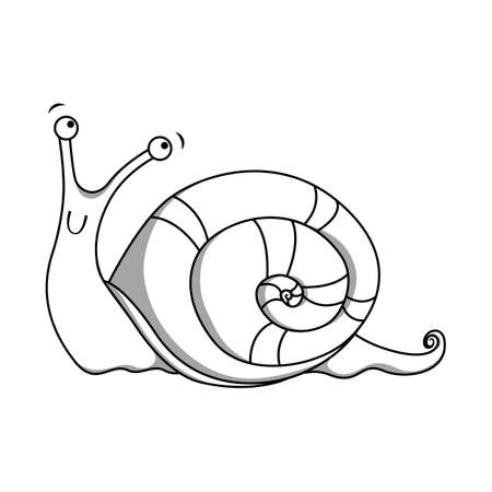 dna smile: Cheerful spotted snail painted lines. Vector illustration Illustration