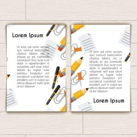 articulos de oficina: Dise�o de concepto de tarjeta de visita o folleto con art�culos de oficina Vectores