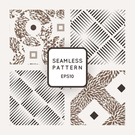 measured: Vector set of seamless geometric patterns of lines in the style of engraving and floral patterns