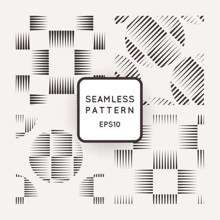 Vector conjunto de patrones geométricos transparente de líneas en el estilo de grabado