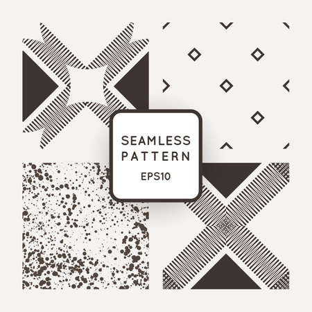measured: Vector set of seamless geometric patterns of lines in the style of engraving