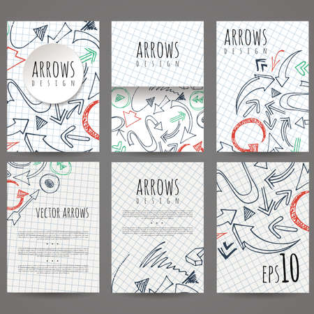leaflets: Set of six vector designs of hand-drawn arrow. Cover design, brochures, leaflets, business cards, magazine, flyers, leaflets, stickers. EPS10