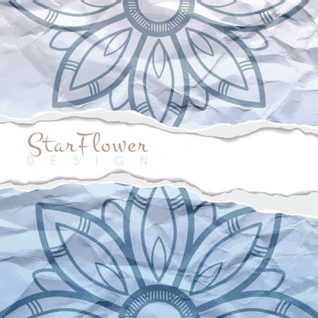 ragged: Vector background of crumpled torn paper with floral circular pattern. Mandala. Ragged edges. Illustration