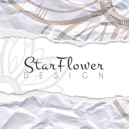 Vector background of crumpled torn paper with floral circular pattern. Mandala. Ragged edges. Illustration