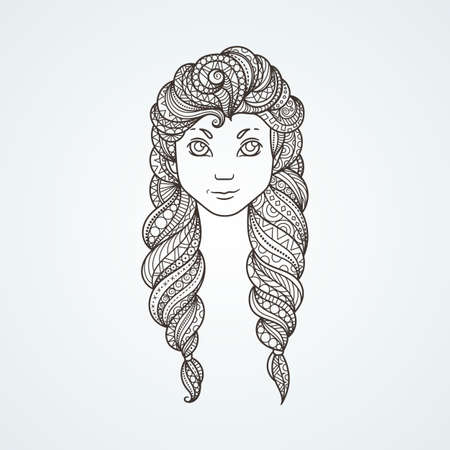 longhaired: Portrait of a cute long-haired girl with braids and a stern look