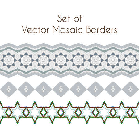 inlay: Set of vector exquisite filigree borders or brush style mosaics and inlay