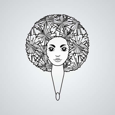 luxuriant: Portrait of a woman with luxuriant hair in the style of an African. Vector. The patterns in the hair. Illustration