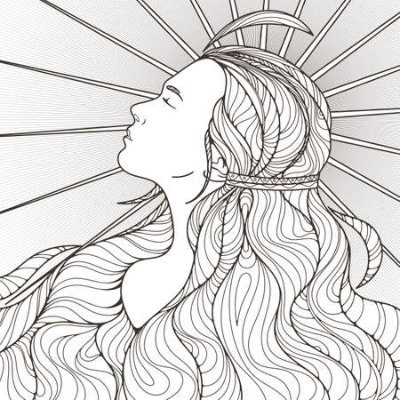 black people: Profile of a beautiful girl with long haughty intricately curled hair. Black and White. Illustration