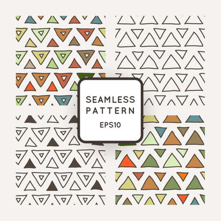 crooked: Vector set of seamless geometric patterns of crooked triangles Illustration