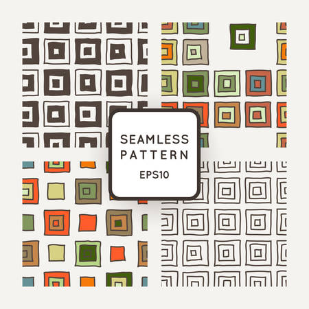 crooked: Vector set of seamless geometric patterns of crooked squares
