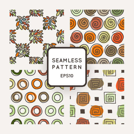 crooked: Vector set of seamless geometric patterns of crooked rings, circles, square spirals and leaves Illustration