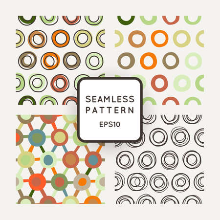 crooked: Vector set of seamless geometric patterns of crooked rings