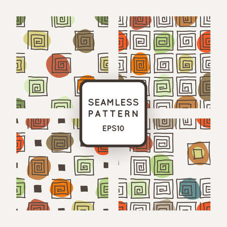 crooked: Vector set of seamless geometric patterns of crooked square spirals Illustration