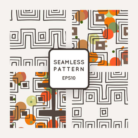 crooked: Vector set of seamless geometric patterns of crooked angular bands Illustration