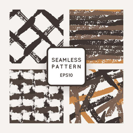 Set of vector seamless pattern of strokes routed Illustration