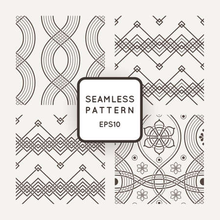 bounds: Set of vector seamless patterns with braids, ropes, bounds
