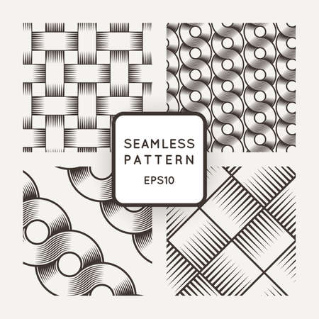 intricacy: Set of vector seamless patterns with intertwined ribbons in the style of engraving