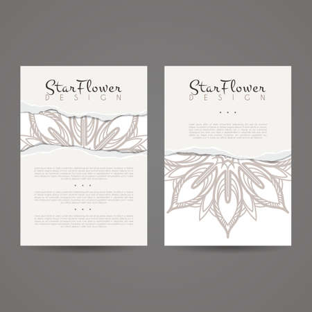 leaflets: A set of two designs for brochures, leaflets, covers, leaflets, flyers, cards with imitation of torn paper. Vector.