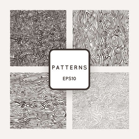 wood textures: Set of vector patterns with grungy hand-drawn wood textures