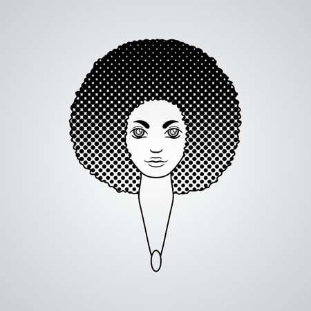 hair style: Portrait of a woman with luxuriant hair in the style of an African. Vector. The patterns in the hair. Illustration