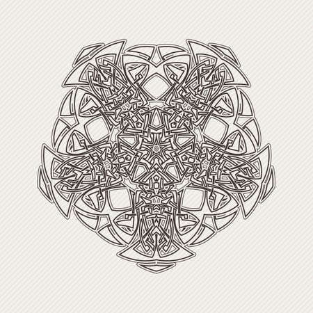Vector mandala. Gothic lace tattoo. Celtic weave with sharp corners. The circular pattern. Çizim