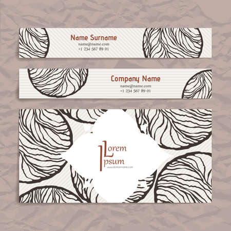 cleft: Set of vector design templates. Brochures in random colorful style. Vintage frames and backgrounds. Business card with abstract circle ornament. Illustration