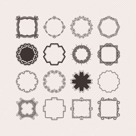 circle flower: Set of ornate vector mandala borders and frames. Gothic lace tattoos. Celtic weave with sharp corners. The circular pattern.